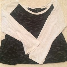 Tshirt Black and white everyday Tshirt. Gently worn. Express Tops Tees - Short Sleeve