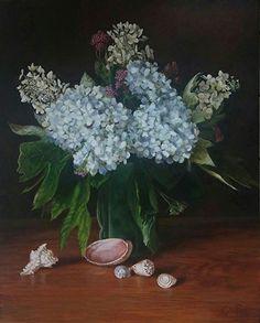 "Hydrangeas and Sea Shells by Jillie Eves Acrylic ~ 30"" x 24"""