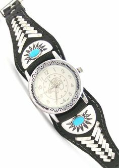 Men's Sterling Turquoise Leather Watch | Bear Watch Face | Four Corners USA OnLine | Native American Jewelry