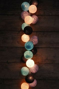 35 Bulbs Retro Mixed Purple Black Bule & White cotton ball string lights for Patio Christmas Party and Decoration fairy lights