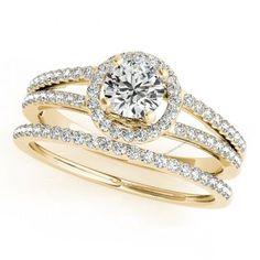 2.1/6CT White Diamond 10K Gold Plated Split Shank Wedding Bridal Ring Set #br925silverczjewelry