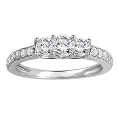 Elora 14k White Gold 1ct TDW Round Diamond 3-stone Bridal Engagement Ring (H-I, I1-I2) (White Gold - Size 9), Women's