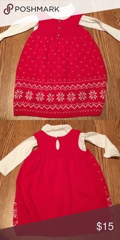 Carters sweater dress Washed but never worn . Red and white sweater dress with white long sleeve onesie Carter's Dresses Casual