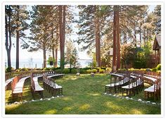 Chairs setup semi-circle style to create a more inclusive ceremony setting