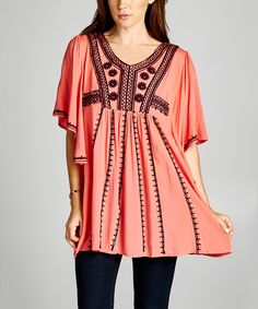 Coral Embroidered V-Neck Tunic