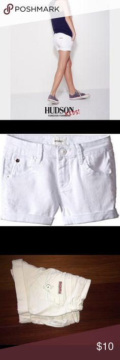 HUDSON KIDS SHORTS White Hudsons kids shorts. some paint on button chipped off as shown. size 10. worn but good condition. bundle with the other kids hudsons shorts in my closet :) Hudson Jeans Bottoms Shorts