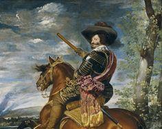 Velázquez - El Conde-Duque de Olivares a caballo. Este cuadro fue encargado por Gaspar de Guzmán, valido de Felipe IV, para la decoración de su casa. Actualmente se encuentra en el Museo del Prado de Madrid.