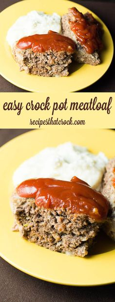 Easy Meatloaf Recipe: Are you looking for a wonderful meatloaf recipe? This easy crock pot recipe is one of my favorite ways to make meatloaf. These simple steps produce the delicious homemade favorite every time. crockpot meals with ground beef Crock Pot Food, Crockpot Dishes, Crock Pot Slow Cooker, Slow Cooker Recipes, Beef Recipes, Cooking Recipes, Crockpot Meat, Simple Crock Pot Recipes, Crock Pots