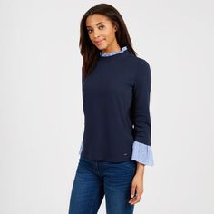 e15bc331aee4 Crewneck Long Sleeve Top with Striped Cuffs - Deep Sea