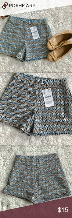 "Zara TRF Woven Shorts NWT These cute blue and gold woven shorts have an elastic pull on waist Polyester/Cotton/Viscose/Spandex blend 12.""5 Waist 12.5"" Length Zara Shorts"