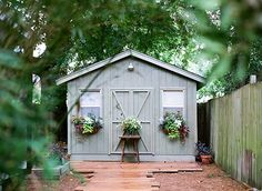 You saved to Tool Shed Ideas + Outdoor Storage Solutions Tool Shed Ideas l Tool Shed Design l Outdoor Storage l Color Palette - The White Apartment Wooden Path, Wooden Sheds, Wooden Garden, Glass Garden, Garden Sheds For Sale, Garden Lighting Diy, Shed Makeover, Yard Sheds, Backyard Studio