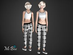 Set with crop top, joggers and trainers. For a fashionable casual look when going out or just a cozy day on the couch. Fully recoloable.  Found in TSR Category 'Sims 3 Downloads'