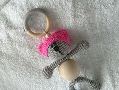 pink pussycat hat crochet wood teether crochet by RedOgeeSheep