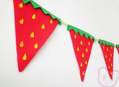 Strawberry Bunting Summer Party Flags. Red felt strawberry fun bunting.. €12,00, via Etsy.