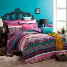 Turquoise Green Purple and Coral Red Shabby Chic Bohemian Indian Pattern and Western Paisley Pop Print Full, Queen Size Bedding Sets