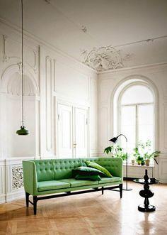 Living Room | Stucco | High Ceiling | Window | White | Green