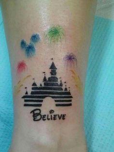 Disney castle, believe, fireworks, water color