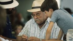 Wilfred Brimley on a break from filming the movie Cocoon in St, Petersburg, FL, 1984.
