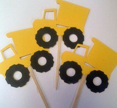 Dumptruck+Cupcake+Toppers+for+a+Party+or+Shower++Set+of+by+62Cards,+$8.00