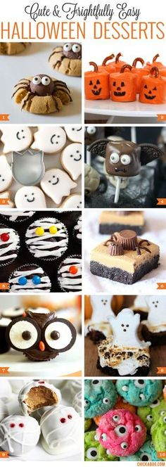 Cute and easy Halloween desserts! Gotta make some of these for my kids' school Halloween party! Halloween Desserts, Homemade Halloween Treats, Postres Halloween, Theme Halloween, Spooky Treats, Halloween Goodies, Halloween Food For Party, Halloween Birthday, Halloween Kids