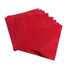 Lot de 100 Papier Aluminium Feuille Emballage pour Chocolat Bonbons 8cm x 8cm - Rouge