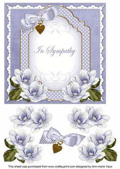 Blue Magnolia In Sympathy Fancy 7in Decoupage Topper on Craftsuprint - Add To Basket!