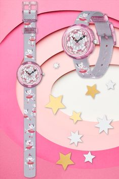 With mice performing ballet moves on the opaque grey strap, PIROUETTE (ZFBNP162) is the perfect gift for kids who love to find the fun in every situation. With sparkling Swarovski® crystals on the dial and glitter shimmering on the transparent pink plastic case, this BPA free Swiss watch for kids will always bring a smile to their face. Pink Plastic, Plastic Case, Ballet Moves, Swiss Watch, Mice, Gifts For Kids, Swatch, Swarovski Crystals, Bring It On