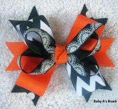 Halloween Orange and Black Spiderweb Chevron Multi by BabyABows, $4.50