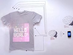 A programmable t-shirt -- shows your tweets, videos, and photos from your smart phone!