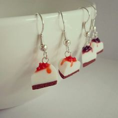 CHEESECAKE EARRINGS on https://www.etsy.com/shop/ItsybitsyIsy?ref=si_shop #cheesecake #miniature #cake #polymerclay #jewelry #earrings #etsy #handmade