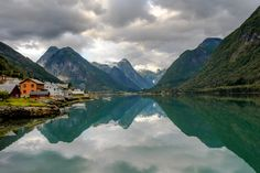 Fjærland mirror view - A new version of a favorite from Fjærland. Less colors and more dynamic. Mountains, Mirror, Norway, Nature, Landscapes, Travel, Colors, Paisajes, Naturaleza