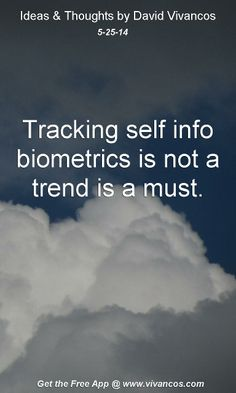 "May 25th 2014 Idea, ""Tracking self info biometrics is not a trend is a must.""  https://www.youtube.com/watch?v=1qMSW0wg2to #quote"