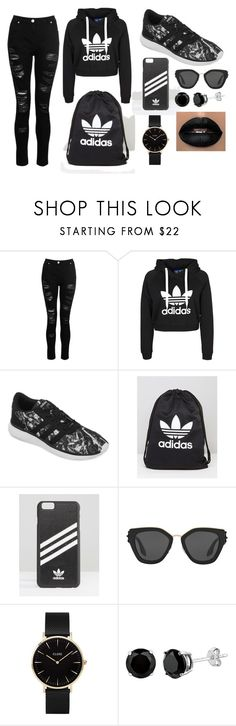 """Černý Adidas"" by deni-loveclothers on Polyvore featuring Dorothy Perkins, adidas, Prada and CLUSE"
