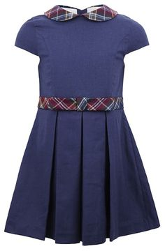 Oscar De La Renta Navy Dress With Tartan Collar | AlexandAlexa