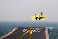 Shenyang J-15 Flying Shark naval-based fighter taking off from aircraft carrier Liaoning, People's Liberation Army Navy (PLAN).