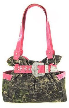 Pink Belted Rhinestone Western Buckle Soft Camo Purse Camouflage Cowgirl Bag: Price:$38.99