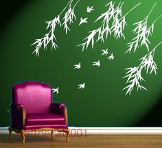 Wall Decals Wall stickers Art  birds with bamboo by walldecals001, $42.00