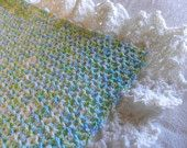 Crochet Baby Blanket Multicolored Greens