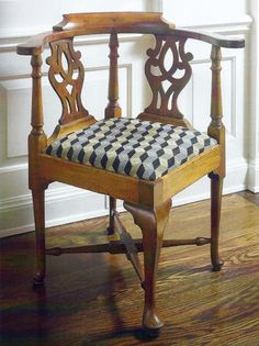 A Fine Queen Anne Mahogany Corner Chair, Massachusetts, Circa 1770, the horseshoe-form back with molded crest above a pair of pierced splats and ring-turned uprights, the drop-in seat within a plain apron and supported on a cabriole frontal leg, three turned tapering legs ending in pad feet at the rear, all joined by a block-and ring-turned X-form stretcher; retains an old mellow color, height 32 in., width 26.3 in., depth 26.5 in.