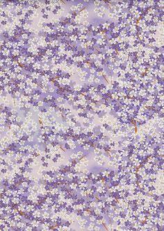 Purple Mauve Lilac Blossoms Flowers Japanese Yuzen Chiyogami Washi Paper Sheet 23 x 15 cm (9 x 6 inches) mosaicmouse