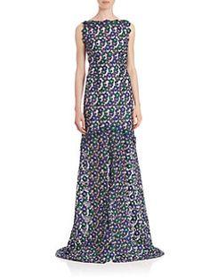 Oscar de la Renta - Floral Embroidered Organza Gown