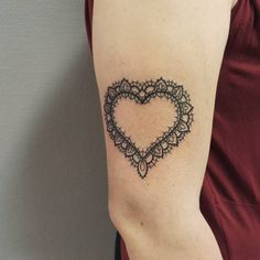 Lace Heart Tattoo Design on Arm