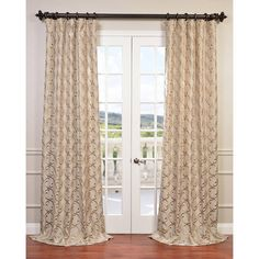 Exclusive Fabrics Royal Gate Flocked Faux Silk Taffeta Curtain