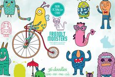 Monster Hands, Bicycle Illustration, Monster Drawing, Outline Drawings, Sea Monsters, Sea Creatures, Vector Graphics, Design Bundles