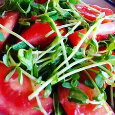 Pea sprouts and tomatoes #teamleeandmarias #lunch