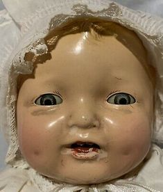 """Effanbee F&B Bubbles 17"""" 1924-30's Composition Vintage Baby Doll Cloth Bent Body 