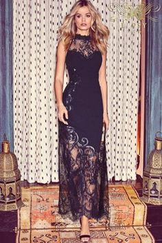 Buy Lipsy VIP High Neck Lace Detail Maxi Dress from the Next UK online shop