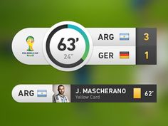 Hi guys, I would like to share this scoreboard design I did for fun. I don't really like the real fifa scoreboard or the ones in the video games, so here is my approach, hope you like it! Web Design, Game Ui Design, Sports App, Sports Games, World Cup 2014, Fifa World Cup, Fifa 17 Ultimate Team, Sports Graphic Design, Sport Design