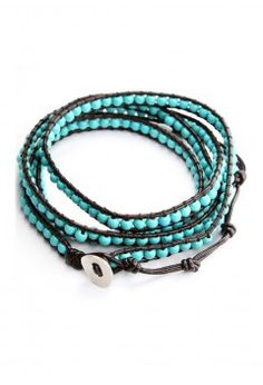 Turquoise Leather Knit Waistbelt Bracelet - Accessory - Retro, Indie and Unique Fashion