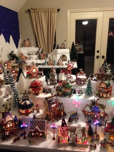 built the levels with carved styrofoam to showcase more of my Department 56 North Pole collection